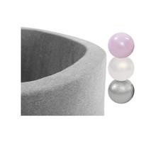 Ballenbak Rond 90x30 | Licht Grijs incl. 150 ballen (Pearl/Silver/Light Pink Pearl)