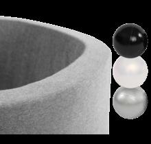 Ballenbak Rond 90x30   Licht Grijs incl. 150 ballen (Silver/Pearl/Black)