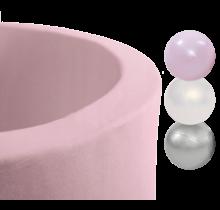Ballenbak Rond 90x30   Licht Roze incl. 150 ballen (Pearl/Silver/Light Pink Pearl)