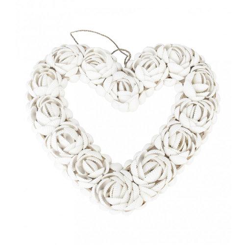 Bazar Bizar Decoratie Hart Schelpen The Shell Heart - Wit - L