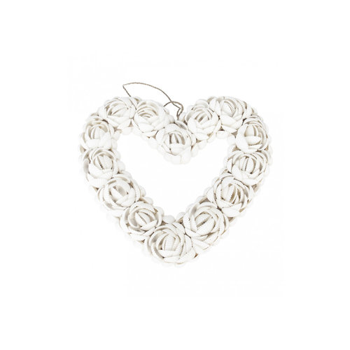 Bazar Bizar Decoratie Hart Schelpen The Shell Heart - Wit - M