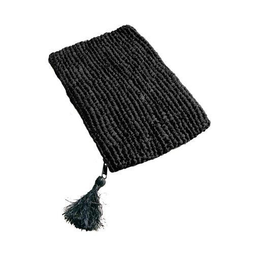 Bazar Bizar Raffia Clutch met rits - Zwart Zwart - L