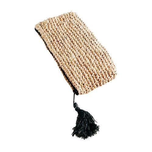 Bazar Bizar Raffia Clutch with zipper - Natural Black - S