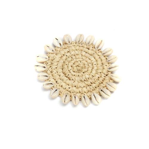 Bazar Bizar Onderzetter Raffia Shell Coaster - Natural