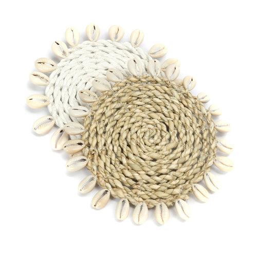 Bazar Bizar Onderzetter Zeegras  Shell Coaster - Wit