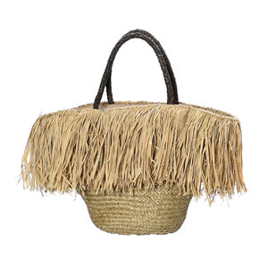 Bazar Bizar The Fringe Raffia Basket with Leather Handle