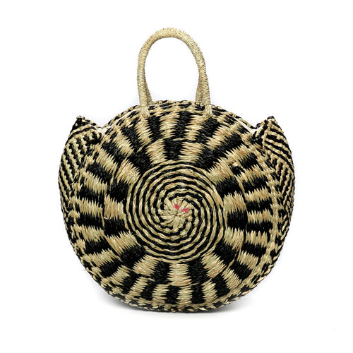 Bazar Bizar The Seagrass Pied Roundi Tas  - Natural Zwart - M