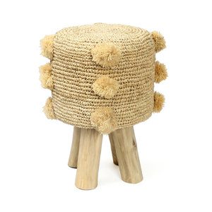 Bazar Bizar The Raffia Pom Pom Stool