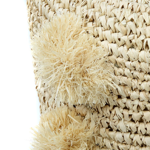Bazar Bizar The Raffia Pom Pom Stool - Natural