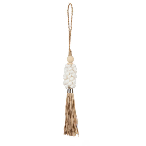 Bazar Bizar The White Shell and Raffia Tassel