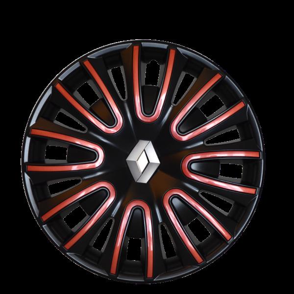 """Renault Twingo 15"""" Wieldoppen - Glanzend zwart met rode afwerking"""