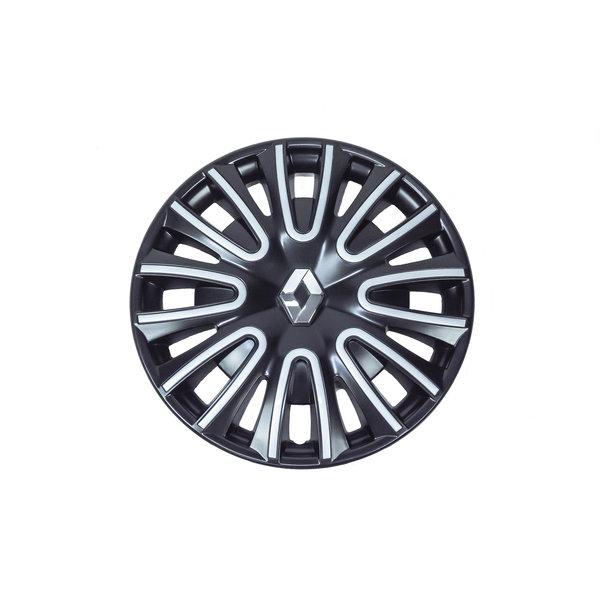 """Renault Twingo 15"""" Wieldoppen - Glanzend zwart met zilvergrijze afwerking"""