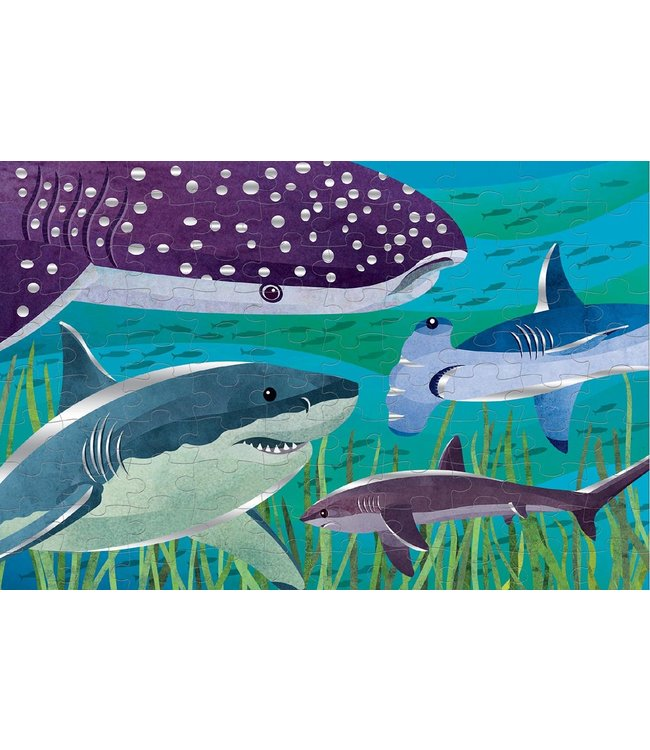 Mudpuppy Foil Puzzle Sharks 100 pcs 5+
