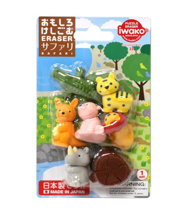 iwako Puzzle Eraser Safari Set 3+