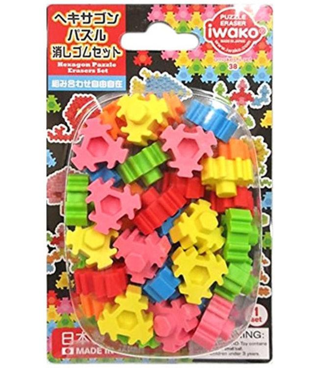 iwako Puzzle Eraser Hexagon Set 3+