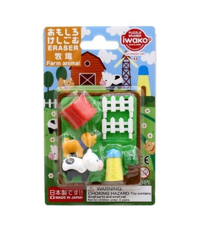 iwako Puzzle Eraser Farm Animal Set 3+