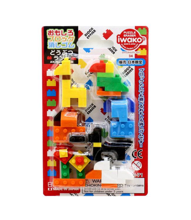 iwako Puzzle Eraser Block Animal Set 3+
