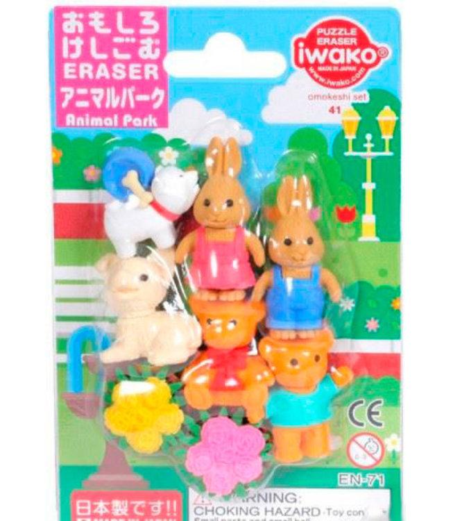 iwako Puzzle Eraser Animal Park Set 3+