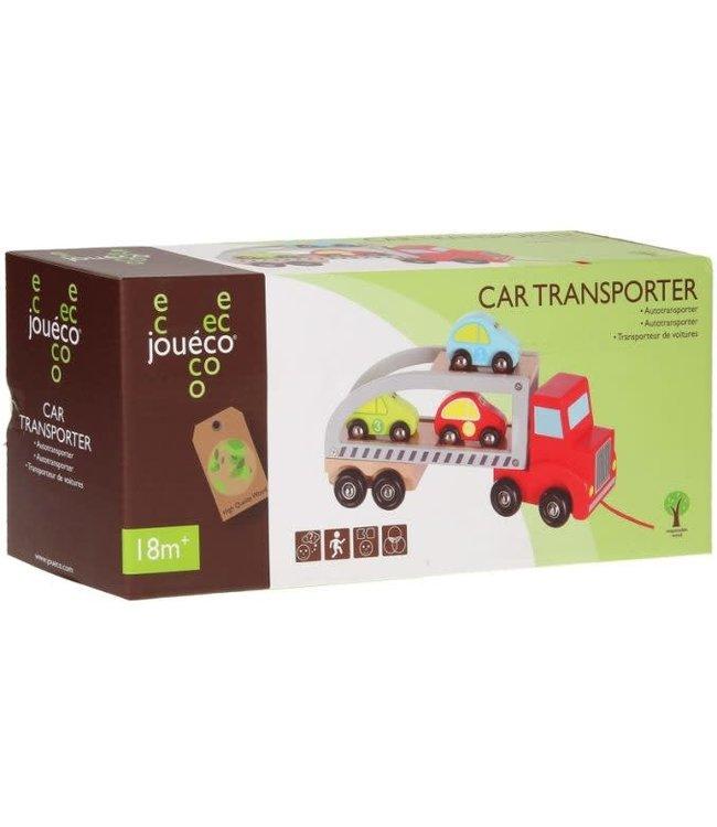 Joueco   Houten Autotransporter met 3 autootjes   +18 mnd