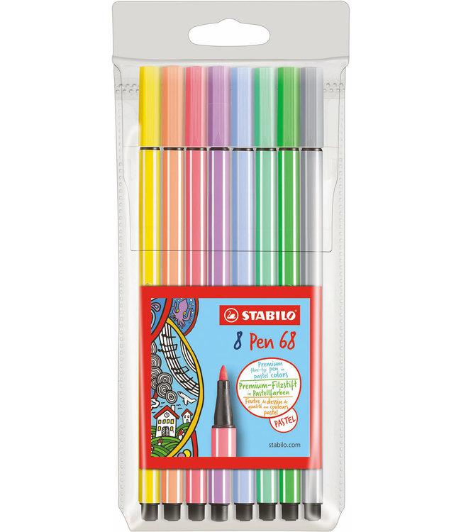 Stabilo Pen 68 Viltstiften Pastel 8 Kleuren