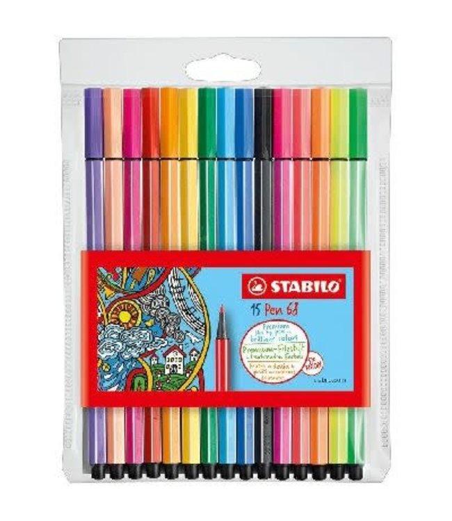 Stabilo Pen 68 Viltstift etui 10 kleuren + 5 neon
