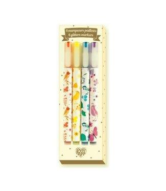 Djeco Djeco Markers 4 Tinou Glitter Markers 6+