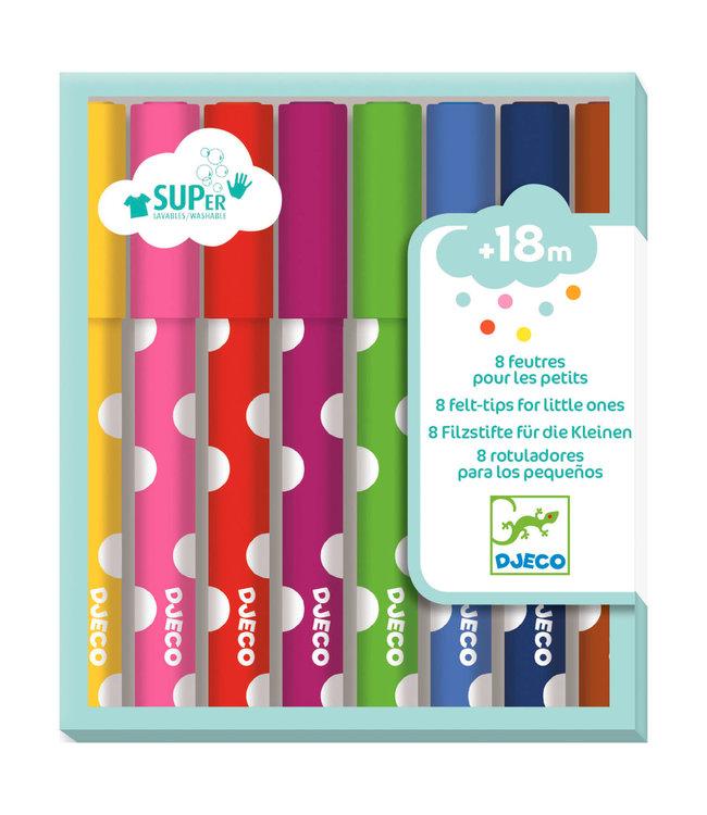Djeco | Viltstiften voor Jonge Kinderen | 8 delig |  +18 mnd