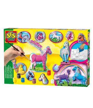 Ses Ses Figuren Gieten en Schilderen Glitter Paardjes 5+