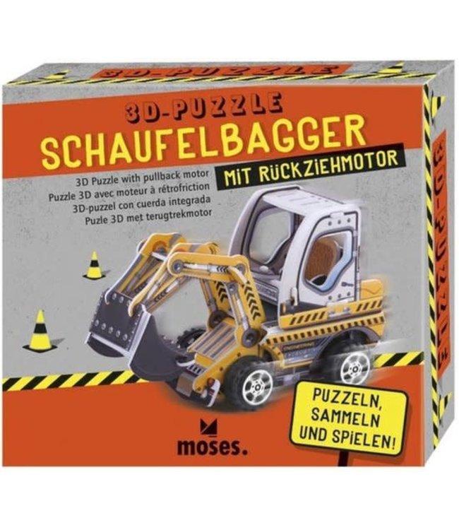 Moses 3D Puzzel Bouwvoertuig met Pullback Motor 4+
