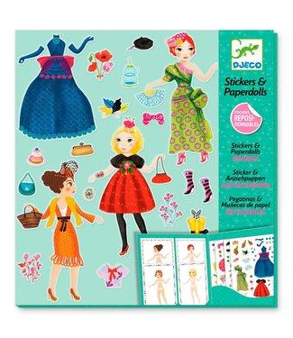 Djeco Djeco Stickers en Poppetjes van Papier, Hippe Mode  4-8 jaar