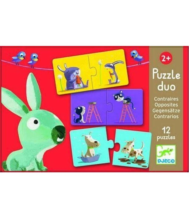 Djeco | Puzzle Duo | Opposites | 12 puzzles | 2+