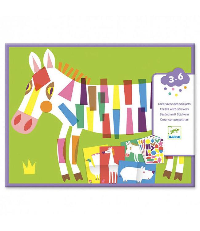 Djeco | Create With Stickers | Large Animals | 3-6 jaar