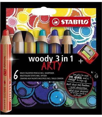 Stabilo Stabilo | Kleurpotloden | Woody 3 in 1 Arty |  6 kleuren + puntenslijper