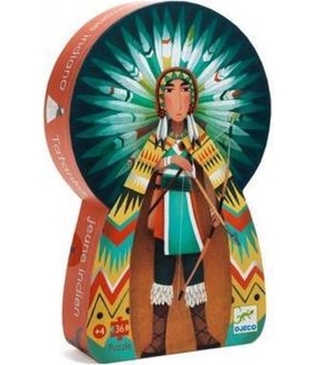 Djeco | Silhouette Puzzle | Tatanka, Young Indian | 36 delig | 4+