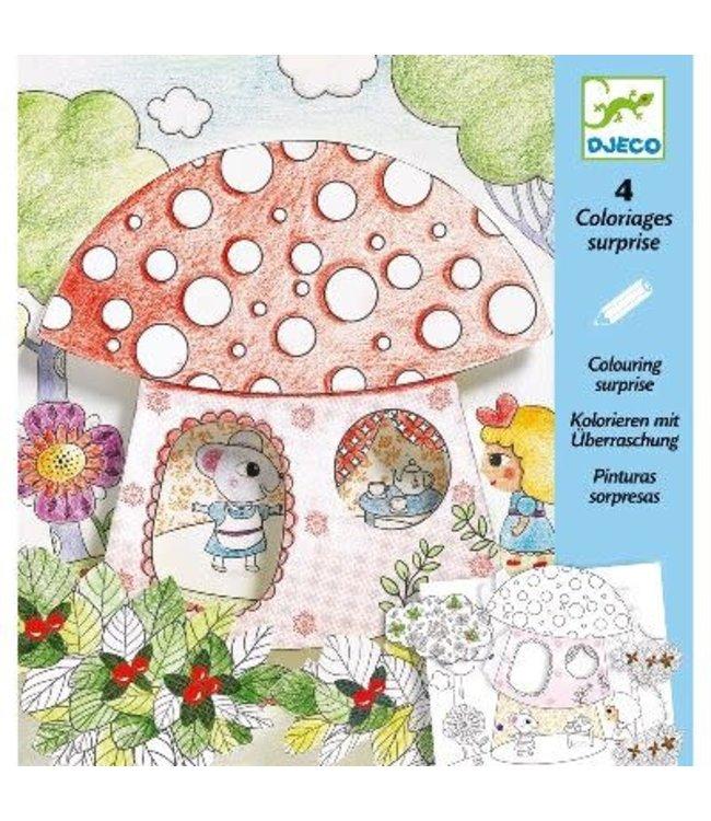 Djeco   Colouring Surprises   Klein Duimpje   4 delig    6-9 jaar