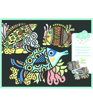Djeco Djeco | Colouring Velvet | Pretty Fishes | 3- 6 jaar
