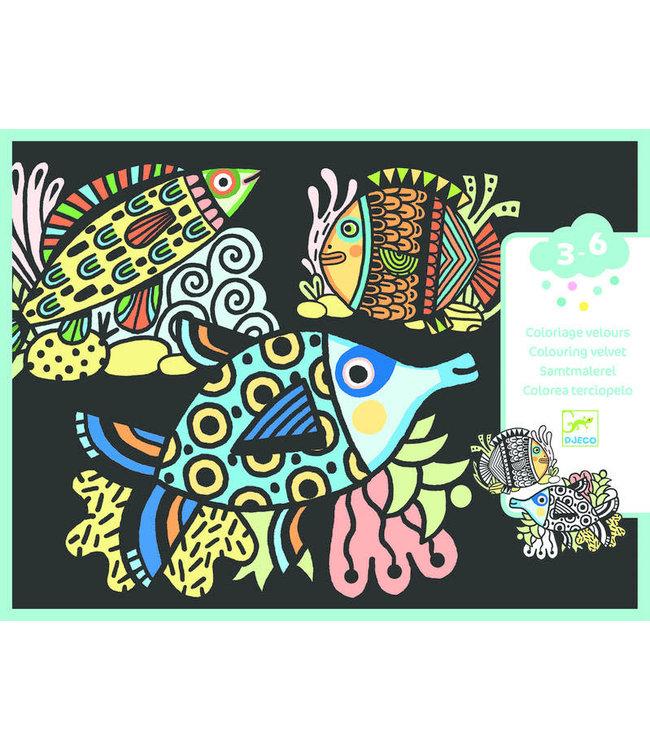 Djeco | Colouring Velvet | Pretty Fishes | 3- 6 jaar