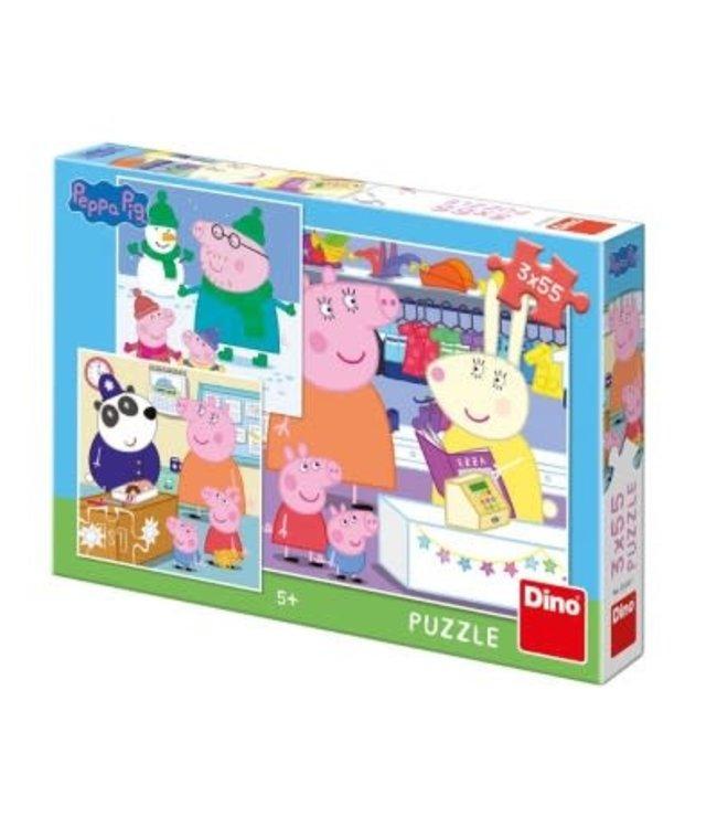 Dino Toys | Puzzel | Peppa Pig | 3 x 55 stukjes | 5+