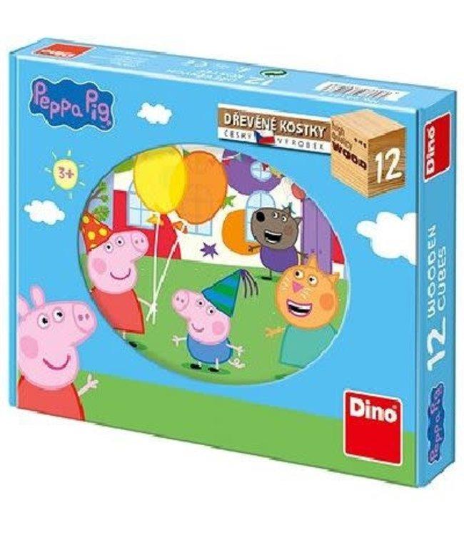 Dino toys Kubuspuzzel Peppa Pig 6 puzzels 12 Blokken  3+