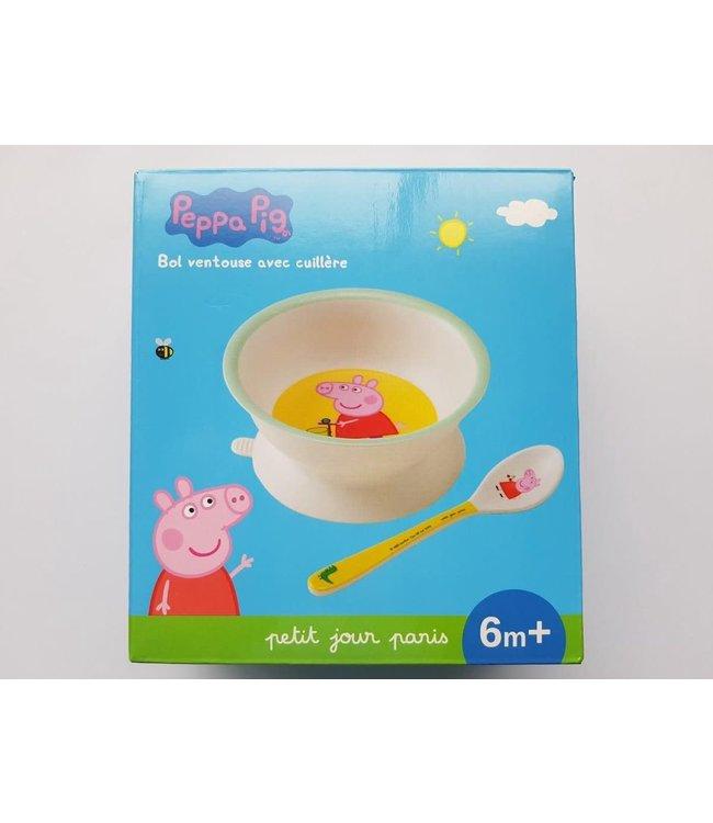 Petit Jour Paris   Peppa Pig   Kommetje met Zuignap en Lepel   +6 mnd