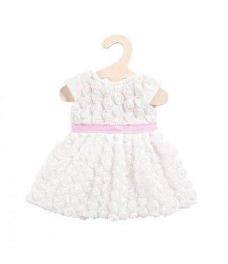Heless Heless Poppenkleding Maat 28-35 cm Jurk met Roosjes Wit met roze tailleband
