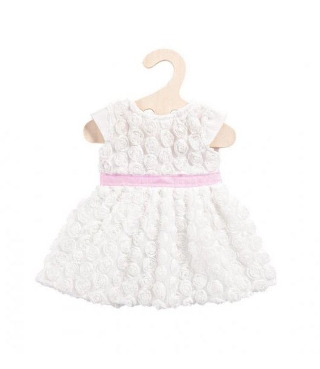 Heless Poppenkleding Maat 28-35 cm Jurk met Roosjes Wit met roze tailleband