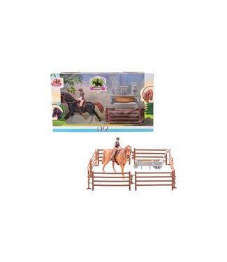 My Lovely Horse Paarden Speelset Paard met Ruiter incl Hekken en Ttoebehoren 3+