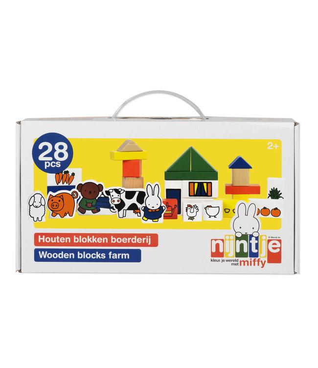 Miffy Wooden Blocks Farm Nijntje Houten Blokken Boerderij 28 dlg