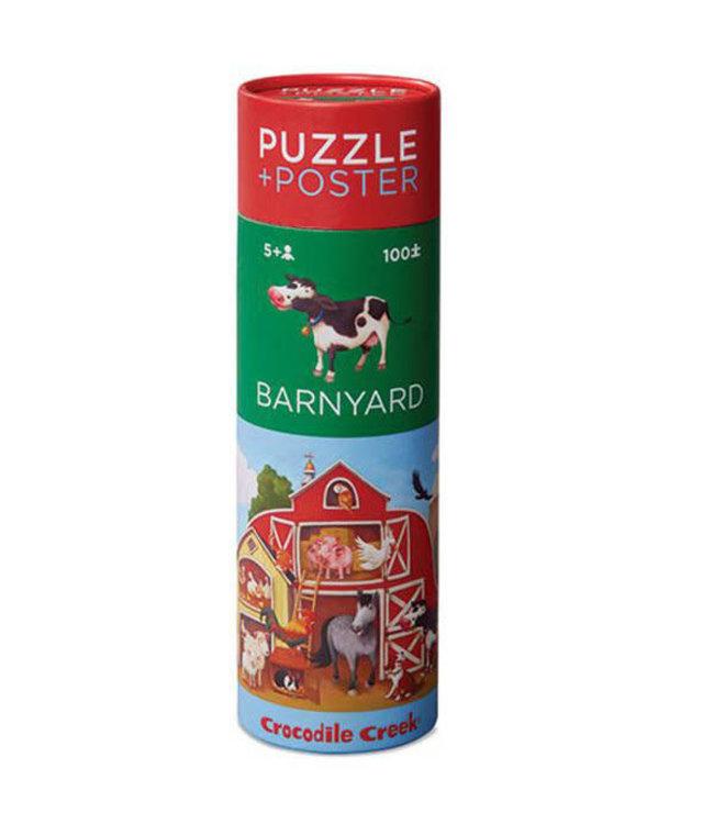 Crocodile Creek Puzzle & Poster Barnyard 100 pcs 5+