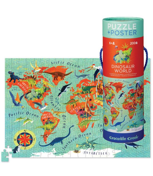 Crocodile Creek Poster & Puzzle Dinosaur World 200 pcs 6+