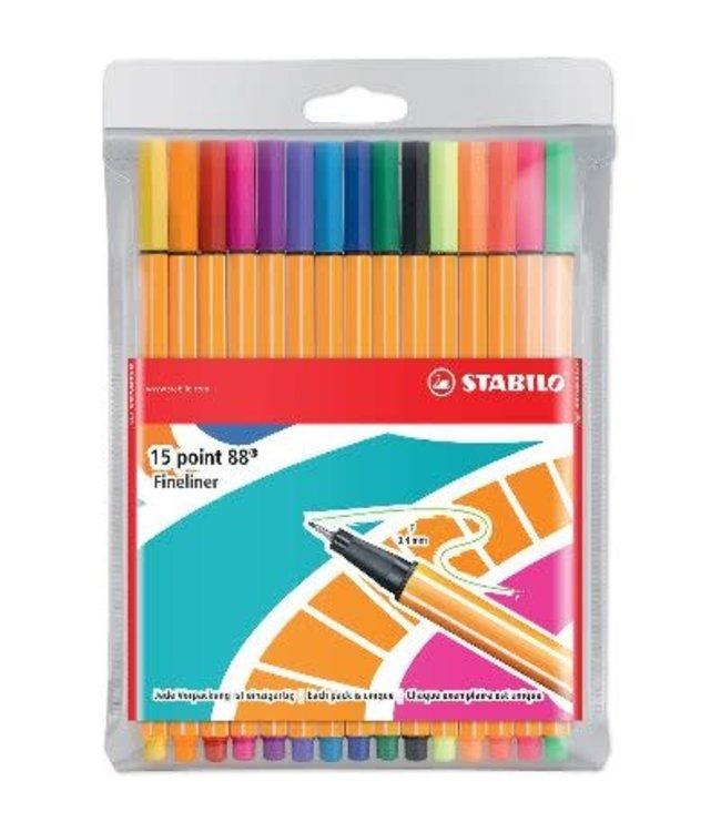 Stabilo Point 88 etui 15 kleuren edition
