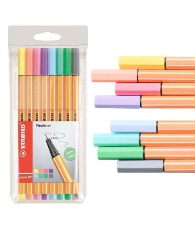 Stabilo Pen 88 Fineliner Pastel 8 Kleuren