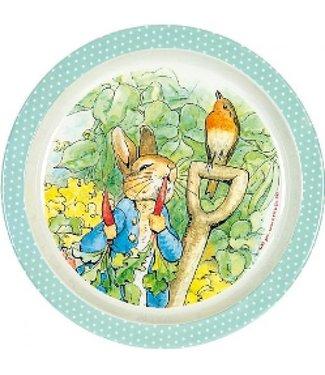 Petit Jour Petit Jour Bord Met Opstaande Rand 18 cm Peter Rabbit Stippen Groen
