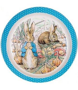 Petit Jour Petit Jour Bord Met Opstaande Rand 18 cm Peter Rabbit Stippen Blauw